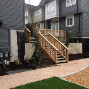 stairs and a picket cedar fence installation in Langley, BC